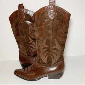 Vaneli Leather Brown Cowboy Cowgirl Boots Narrow